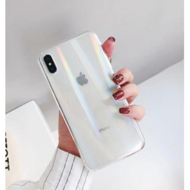 iphone8 レザー ケース シェル 、 iPhone7/8  クリア  オーロラホログラム  強化ガラスの通販 by まるちゃん's shop|ラクマ