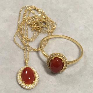 K18 血赤珊瑚 ダイヤモンド ネックレス リング セット(リング(指輪))