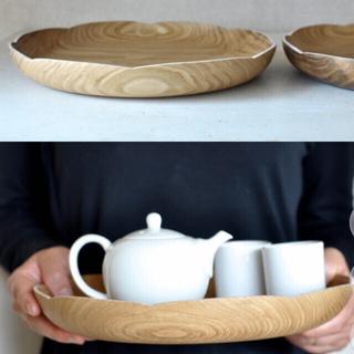 ウニコ(unico)の辻有希 27cm 輪花 盆 トレイ 木製 木工作家 お盆 作家(テーブル用品)
