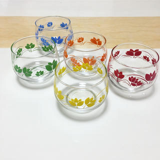 アッシュペーフランス(H.P.FRANCE)のvintage❣️新品 花柄 昭和レトロ グラスコップ(グラス/カップ)