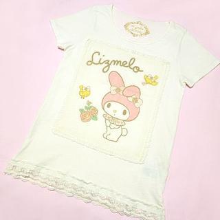 リズリサ(LIZ LISA)のリズメロ Lizmelo 綿100% レース 重ねチュールTシャツオフホワイト(Tシャツ(半袖/袖なし))