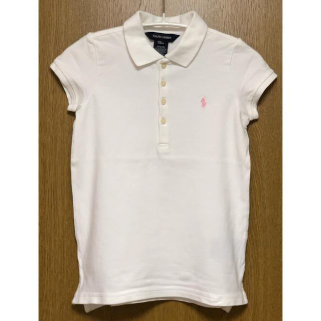 Ralph Lauren(ラルフローレン)の美品 ラルフローレン ポロシャツ 白×ピンク 120 キッズ/ベビー/マタニティのキッズ服 女の子用(90cm~)(その他)の商品写真