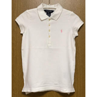 Ralph Lauren - 美品 ラルフローレン ポロシャツ 白×ピンク 120
