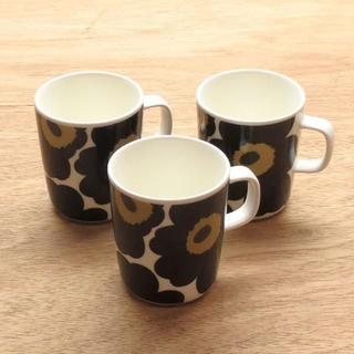 マリメッコ(marimekko)のマリメッコ マグカップ ウニッコ ホワイト×ブラック 3個(グラス/カップ)