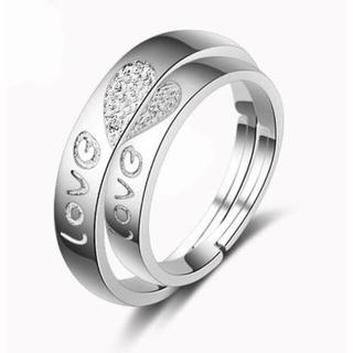 ハートで合わさる可愛いシルバーペアリング(リング(指輪))