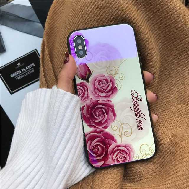 iphone 8 ケース 緑 / 花柄 iPhone8Plus iPhone7Plus 背面ガラス ホワイトの通販 by coco's shop|ラクマ
