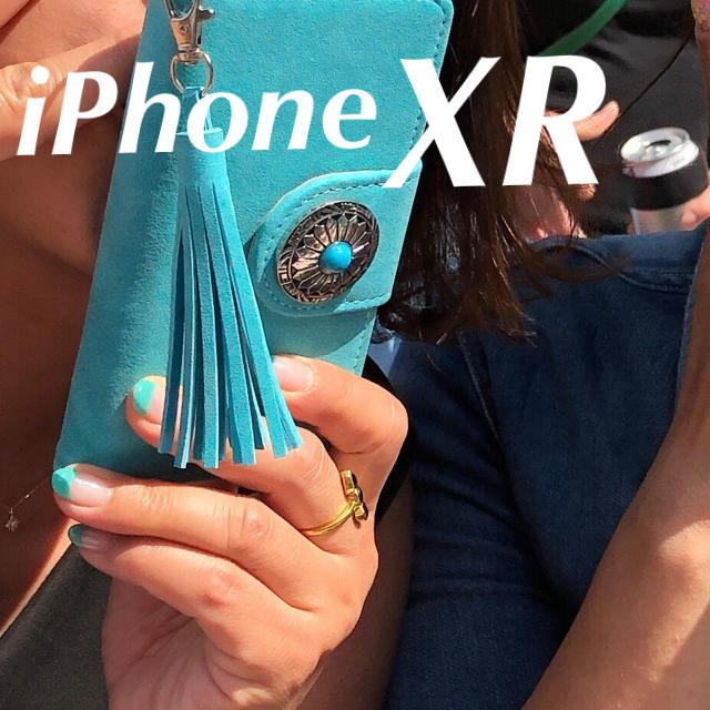 スマホケース 楽天 xperia 、 iPhoneXR お洒落なターコイズブルー手帳型ケースの通販 by Paulista's shop|ラクマ