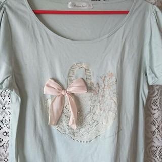 クチュールブローチ(Couture Brooch)のクチュールブローチ パステルグリーン リボン カットソー (カットソー(半袖/袖なし))