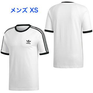 アディダス(adidas)の【メンズXS】白  3ストライプス Tシャツ(Tシャツ/カットソー(半袖/袖なし))