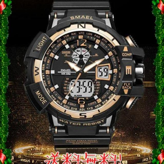 送料無料!メンズ腕時計 デジタル 多機能 ブラック×ゴールドの通販 by ミチコ's shop|ラクマ