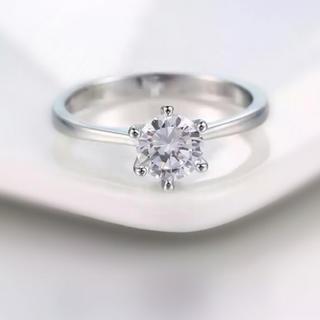 一粒CZダイヤモンド  リング 指輪 ピンキーリング(リング(指輪))