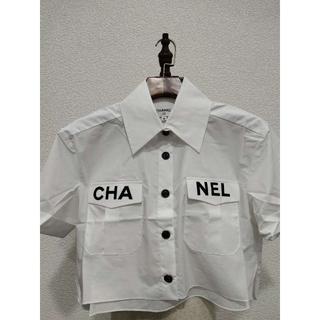 シャネル(CHANEL)の CHANEL(シャネル) トップ コットン ホワイト ロゴ(シャツ/ブラウス(半袖/袖なし))