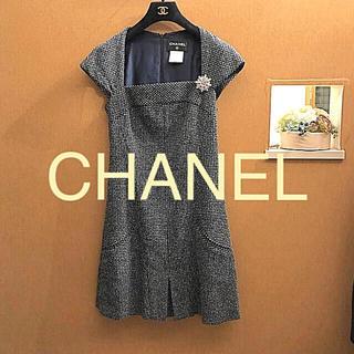 シャネル(CHANEL)のお値下げ新品同様CHANELシャネルツィードワンピース(ミニワンピース)