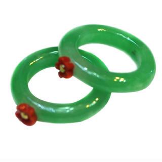 珊瑚と金で作った梅花つきの翡翠サンカラッチリング 二連 二重 リング 【中古品】(リング(指輪))