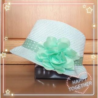 ジーユー(GU)の☆子供用☆キッズ☆麦わら帽子☆ストローハット☆中折れハット☆お花コサージュ☆(帽子)