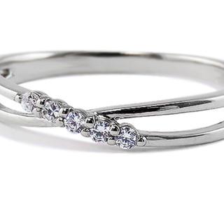 ファイブストーン ピンキーリング ダイヤリング 【中古品】(リング(指輪))