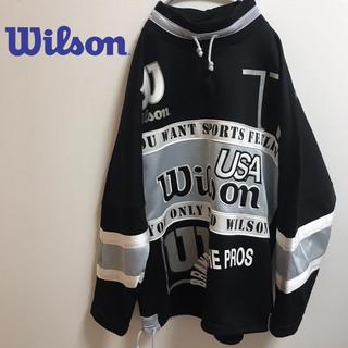 ウィルソン(wilson)の古着☆人気  ウィルソンWilson デカロゴ スウェット ブラック 奇抜 レア(スウェット)