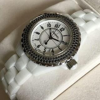 a1e5d783291e シャネル(CHANEL)のJ12 H1631 ホワイトセラミックブレス ベゼルブラックダイヤ ホワイト(腕時計