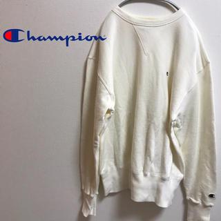 チャンピオン(Champion)の古着☆人気  チャンピオン スウェット ワンポイントロゴ ホワイト 定番デザイン(スウェット)