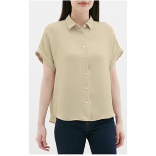 ジーユー(GU)のGU 今期 エアリーシャツ 半袖スキッパーシャツ ベージュ sサイズ ブラウス(シャツ/ブラウス(半袖/袖なし))
