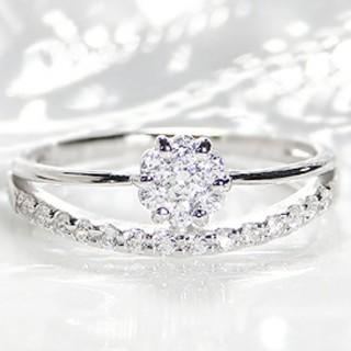 【中古品】pt900  0.3ct  2連  ダイヤモンドリング(リング(指輪))