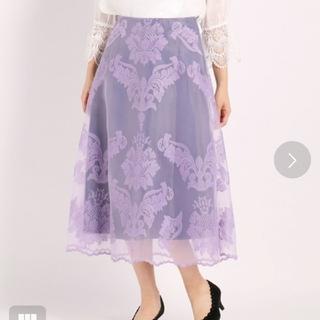 ストロベリーフィールズ(STRAWBERRY-FIELDS)の17280円 新品 ストロベリーフィールズ 刺繍オーガンジー/スカート パープル(ロングスカート)
