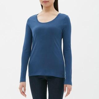 ジーユー(GU)のクルーネックT GU ジーユー 青 ブルー Sサイズ(Tシャツ(長袖/七分))