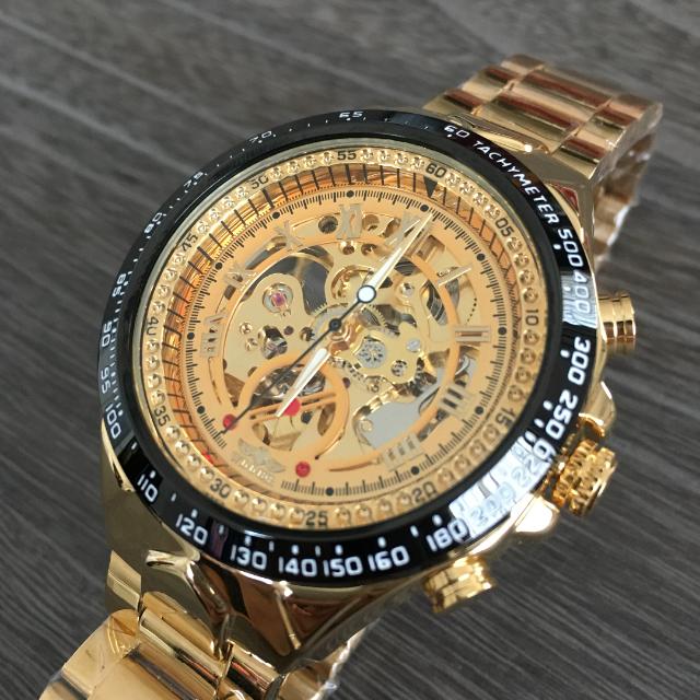 【ゴールド】Winnerスケルトン機械式腕時計(新品・未使用)の通販 by 星のShop|ラクマ