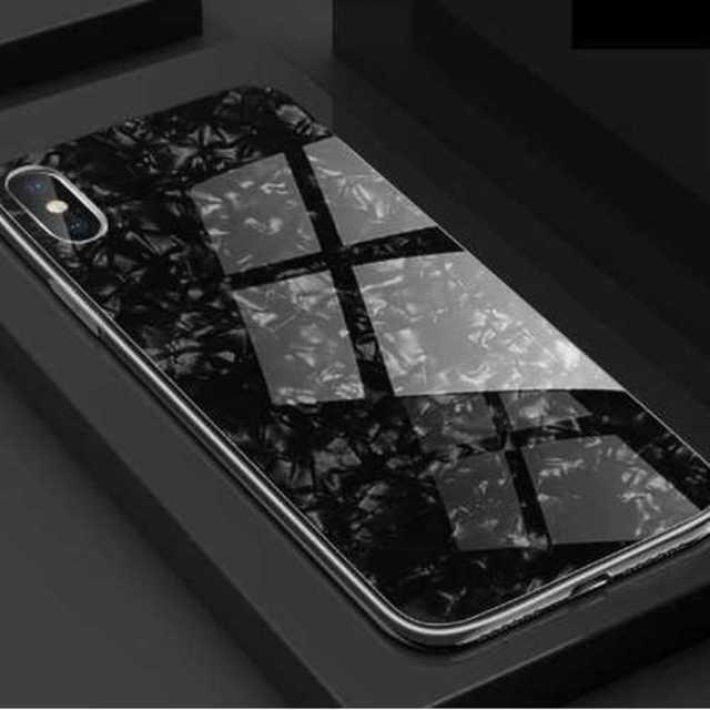 iphoneケース ガラスシェル キラキラ(ブラック、iphoneXR)の通販 by pon's shop|ラクマ