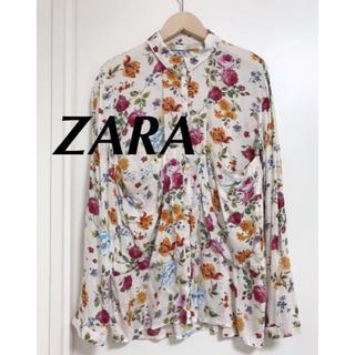 ザラ(ZARA)のZARA フラワーモチーフ 花柄シャツ 長袖シャツXS (シャツ/ブラウス(長袖/七分))