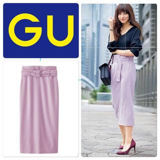 ジーユー(GU)のGU ベルト付きハイウエストタイトスカート パープル XL(ロングスカート)