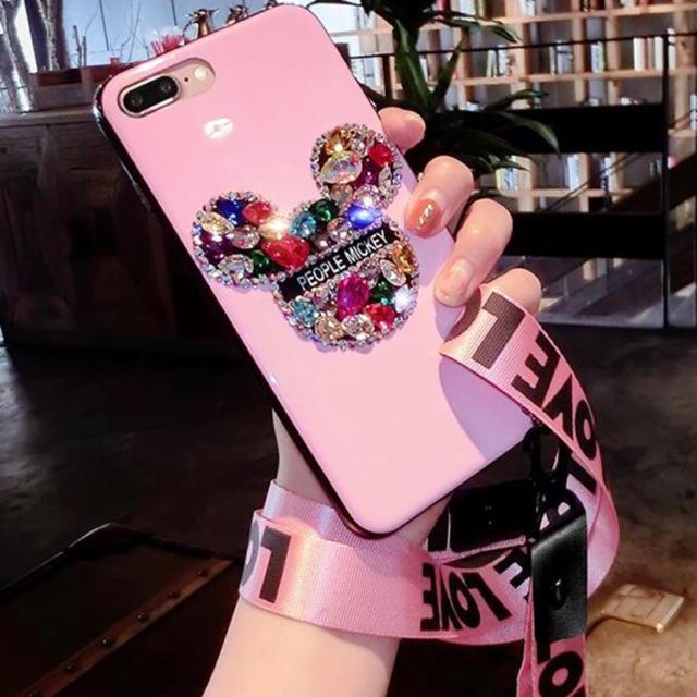 新品 iPhone XRケース ピンク ビジューケース ディズニー ロゴリボンの通販 by すみれっ☆'s shop|ラクマ