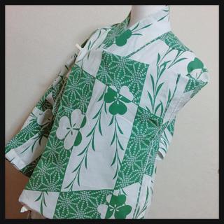 浴衣  三つ葉と柳  和柄 レトロ 古典 モダン クローバー 植物(浴衣)