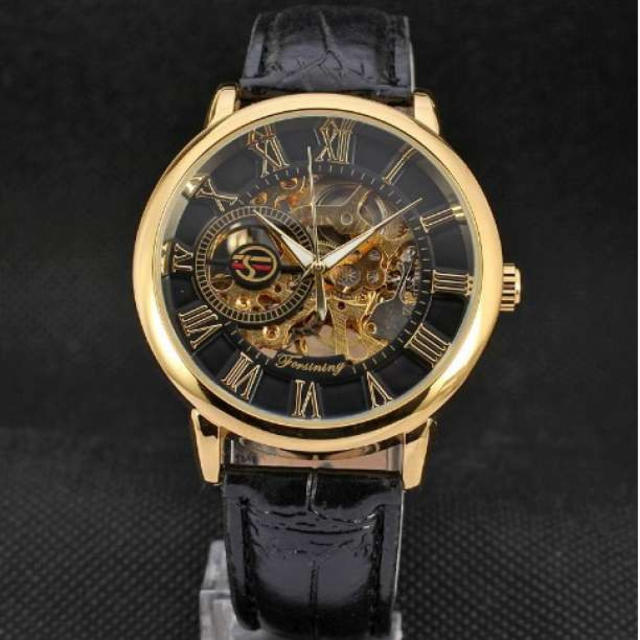 FORSINING 手巻き スケルトン腕時計 金☓黒の通販 by Minnie's shop|ラクマ