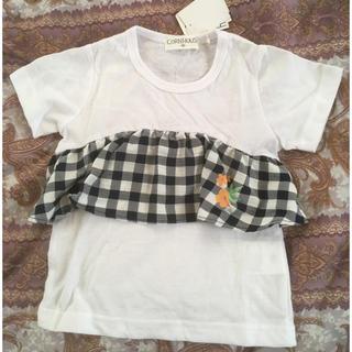 シマムラ(しまむら)の新品しまむら半袖チェックフリルTシャツ90(Tシャツ/カットソー)