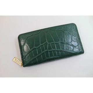 524e28202c2a クロコダイル 財布 本物 マット仕上げ ヘンローン ラウンド 最高級品 グリーン(財布)