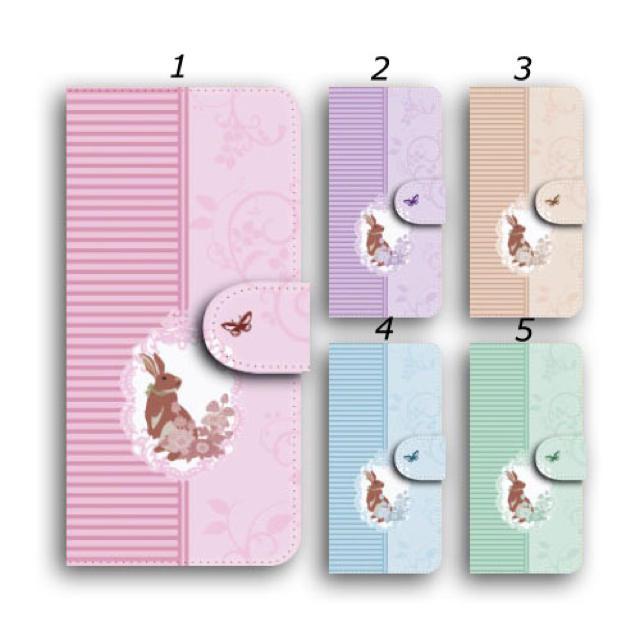 ウサギ iPhoneケース 手帳型 スマホカバー かわいい ボーダーの通販 by ララ 's shop|ラクマ