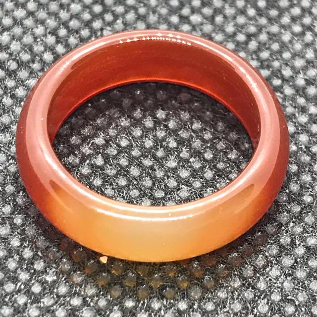 天然石 パワーストーン 瑪瑙 めのう 濃いオレンジ 13.5号 リング 台座  レディースのアクセサリー(リング(指輪))の商品写真