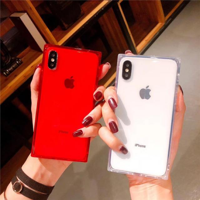 iphone8 ケース シンプル かわいい 、 スクエア型クリアiPhoneケースの通販 by TkT|ラクマ
