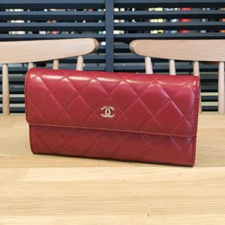 d2bf5ab6c9ab シャネル(CHANEL)の良品 シャネル 長財布 マトラッセ ラムスキン 赤 レッド シルバー金具(