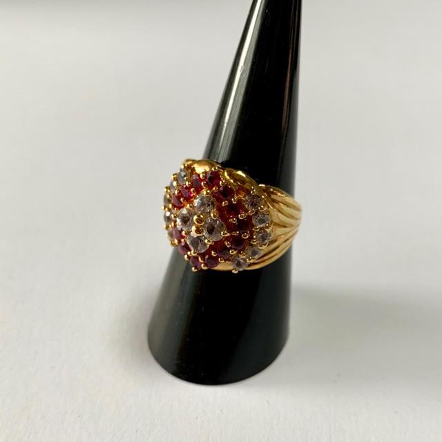 k18リング ダイヤモンド1.30  ルビー1.00 指輪 ケース付き 美品. レディースのアクセサリー(リング(指輪))の商品写真
