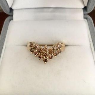 ブラウンダイヤモンド V字 リング K18YG 1.08ct 4.2g(リング(指輪))