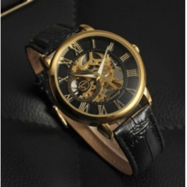 FORSINING 手巻き スケルトン腕時計 金☓黒の通販 by ミキミキ's shop|ラクマ