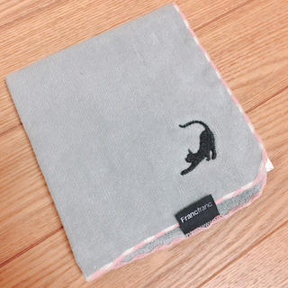 フランフラン(Francfranc)の黒猫 ハンカチ グレーカラー(ハンカチ)