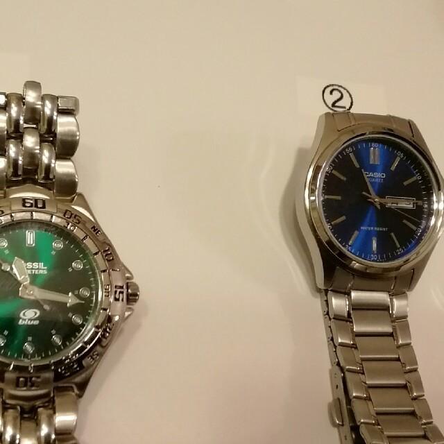 FOSSIL - メンズ腕時計 クォーツ (綺麗な緑と青の風防) 美品の通販 by レスキュー's shop  (必ずプロフ見て下さい)|フォッシルならラクマ