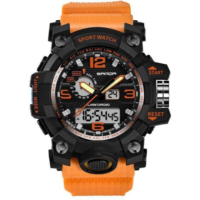 SANDA 742メンズ ミリタリー腕時計 防水 アウトドア オレンジの通販 by gra i's shop|ラクマ