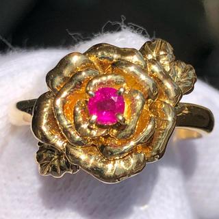 k18yg 18金 ルビー ダイヤモンド 薔薇 バラ 花 モチーフ リング 指輪(リング(指輪))