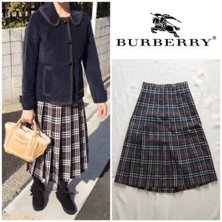 バーバリー(BURBERRY)のオールドバーバリー ノバチェック サマーウール プリーツスカート 7AB2(ひざ丈スカート)