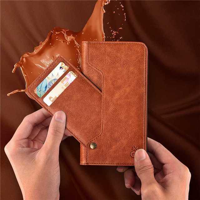 スライド ベルト無し iPhoneXR 手帳型ケース ブラウン カード収納付きの通販 by coco's shop|ラクマ