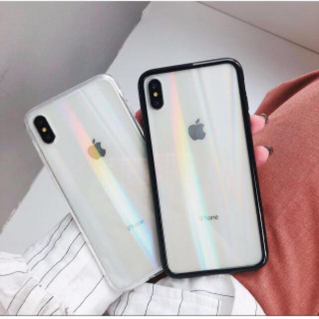 iphone8 純正 ケース シリコン | iPhoneX/XS  クリア  オーロラホログラム  強化ガラスの通販 by まるちゃん's shop|ラクマ